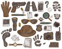 Vectorhand getrokken reeks van illustratie met detectivehulpmiddelen en bewijsmateriaal stock illustratie