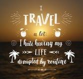 Vectorhand getrokken reisillustratie voor affiche met hand-van letters voorziend citaat Royalty-vrije Stock Foto