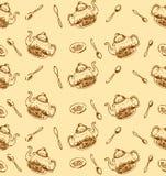 Vectorhand getrokken schets van naadloze het patroonillustratie van het theepatroon op witte achtergrond royalty-vrije illustratie