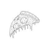 Vectorhand getrokken schets van pizzapepperonis Stock Afbeeldingen
