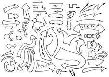 Vectorhand getrokken schetsmatige geplaatste pijlenpictogrammen stock illustratie