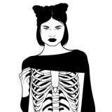 Vectorhand getrokken surreal illustratie ofgirl met geïsoleerde ribben vector illustratie