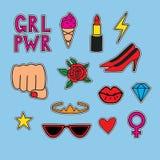 Vectorhand getrokken vastgestelde stickers over vrouwenmacht royalty-vrije illustratie