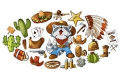 Vectorhand getrokken wilde de elementenstickers van de het westencowboy geplaatst illustratie royalty-vrije illustratie