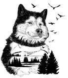 Vectorhand getrokken Wolf voor uw ontwerp Stock Foto's