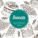 Vectorhand-Zeichnungsnachtisch-Bäckereiillustration Nahtloses Muster der süßen Lebensmittelskizze Stockbilder