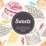 Vectorhand-Zeichnungsnachtisch-Bäckereiillustration Nahtloses Muster der süßen Lebensmittelskizze Stockfoto