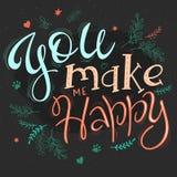 Vectorhandtekening het van letters voorzien uitdrukking - u maakt me gelukkig - met decoratieve elementen - pijl, werveling, krul Stock Fotografie