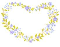 Vectorhart en bloemen 3 van de groetkaart Stock Afbeelding