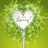 Vectorhart gevormde boom met groene bladeren Royalty-vrije Stock Afbeeldingen