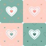 Vectorhartpatroon in 4 kleuren Stock Afbeelding