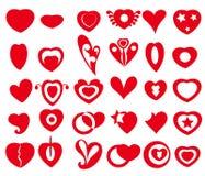 Vectorhartpictogrammen & Symbolen Royalty-vrije Stock Afbeelding
