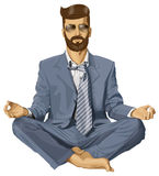 Vectorhipster-mens in Lotus Pose Stock Afbeeldingen