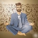 Vectorhipster-Zakenman in Lotus Pose Meditatin Stock Foto's
