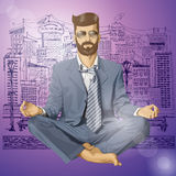 Vectorhipster-Zakenman in Lotus Pose Meditating Stock Afbeeldingen