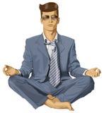 Vectorhipster-Zakenman in Lotus Pose Meditating Royalty-vrije Stock Afbeelding