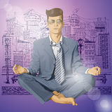 Vectorhipster-Zakenman in Lotus Pose Meditating Royalty-vrije Stock Foto