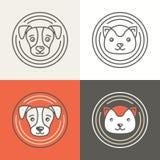 Vectorhond en kattenpictogrammen en emblemen Royalty-vrije Stock Foto's