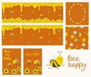 Vectorhoney banners Beeldverhaalillustraties Honingraten, bijen, bloemen Inzameling van kaarten, banners, vlieger, naadloos patro royalty-vrije illustratie