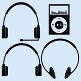 Vectorhoofdtelefoons van verschillende ontwerpen Stock Foto