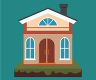 Vectorhuis, huishuur en onroerende goederen in vlakke beeldverhaalstijl met huisillustratie royalty-vrije illustratie