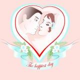 Vectorhuwelijksportret van een paar in hart Stock Afbeelding