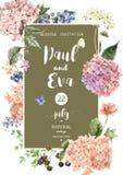 Vectorhuwelijksuitnodiging met Hydrangea hortensia stock illustratie