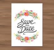 Vectorhuwelijksuitnodiging met waterverfbloemen Royalty-vrije Stock Afbeeldingen