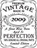 Vectorial σχέδιο τυπωμένων υλών μπλουζών Ο τρύγος ασφαλίστρου έκανε το 2009 ένα αστέρι ήταν γεννημένος ηλικίας στην τελειότητα 10 διανυσματική απεικόνιση