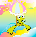 Vectorial cartoon style illustration with frog Stock Photography