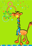 Vectorial cartoon style illustration with giraffe Stock Photo