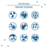 Vectorial clip art style flat design. Icons of tourism in nature, the family goes on a hike, a fisherman in a boat. Types of nature: mountains, forest, meadow stock illustration