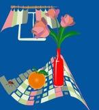 Vectorial illustratie met tulpen en sinaasappel royalty-vrije illustratie