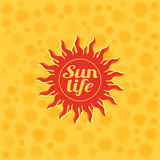 Vectorial illustration of a red sun on a yellow background.  Stock Photography