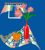 Vectorial illustration with tulips and orange Royalty Free Stock Photography
