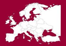 Vectorial kaart van Europa op rood Stock Foto