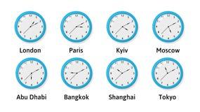 Vectorilllustration van de Klokken van de Tijdzonemuur Stock Foto