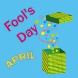 Vectorillustratie 1 April De dag van dwazen Stock Afbeeldingen