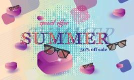Vectorillustratie, banner Het concept een prentbriefkaar op een de zomerthema met de zomerattributen - Beelden vectorielles royalty-vrije illustratie