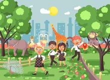 Vectorillustratie of banner voor plaats met schoolkinderen, klasgenoten op gang, de excursie zoölogische tuin van de schooldieren royalty-vrije illustratie