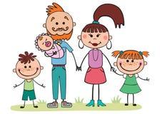 Vectorillustratie, beeldverhaal, familie, mamma en papa, kinderen, Royalty-vrije Stock Fotografie