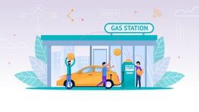 Vectorillustratie Bijtankende Auto op Benzinestation royalty-vrije illustratie
