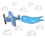 Vectorillustratie, blauw vliegtuig die in de hemel vliegen vector illustratie