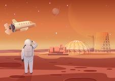 Vectorillustratie die van astronaut zich bij de kolonie van Mars bevinden en vliegend ruimteschip bekijken stock illustratie