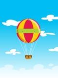 Vectorillustratie die van ballonaerostaat hoog op hemelwolk vliegen Royalty-vrije Stock Foto's