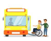 Vectorillustratie die van de mens de gehandicapte mens in een rolstoelcom helpen in de bus in busstation in vlakke beeldverhaalst stock illustratie