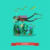 Vectorillustratie die van duiker onderwater in vlakke stijl zwemmen Stock Afbeeldingen