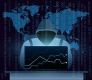 Vectorillustratie die van hakker met laptop, Internet op de achtergrond van de wereldkaart, computerbeveiligingconcept binnendrin royalty-vrije illustratie