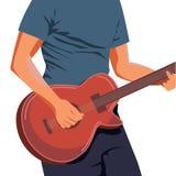 Vectorillustratie die van handen lichtbruine akoestische gitaar spelen Sluit omhoog, blauwgroene achtergrond, horizontaal formaat royalty-vrije illustratie