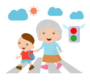 Vectorillustratie die van jong geitje hogere dame helpen die de straat, Jongen kruisen die oude dame helpen de straat kruisen Stock Afbeeldingen